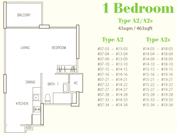 Hillion Residences - 1 Bedroom 463 sqft